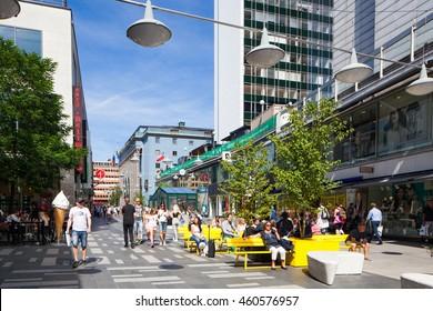 Stockholm, Sweden - Jul 29, 2016 : Street view of colorful Stockholm street, Sergelgatan, Stockholm, Sweden
