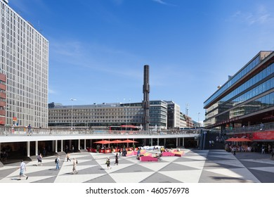 Stockholm, Sweden - Jul 29, 2016 : View of Sergel square on a sunny summer day, Stockholm, Sweden