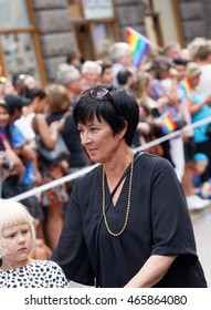 STOCKHOLM, SWEDEN - JUL 30, 2016: The swedish politician Mona Sahlin in the Pride parade July 30, 2016 in Stockholm, Sweden