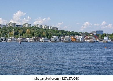 STOCKHOLM, SWEDEN - JULY 17, 2018: View towards Pampas Marina boats from Hornsbergsstrand on a sunny day on July 17, 2018 in Stockholm, Sweden.