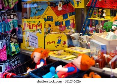 Stockholm, Sweden - July, 2012: Shop with Pippi souvenirs - the famous little girl from Astrid Lindgren books in Stockholm, Sweden