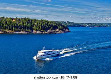 Stockholm, Sweden - July 2014: Tourist boat exploring Stockholm Archipelago in Baltic Sea, Sweden