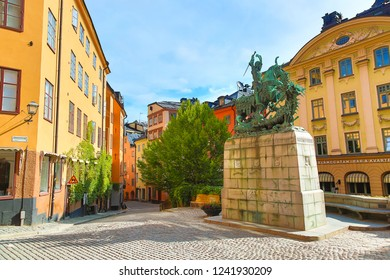 Stockholm, Sweden - July, 2018: The statue of Saint George and the Dragon in Stockholm, Sweden during summer sunny day.