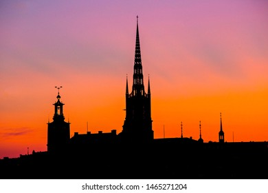 STOCKHOLM, SWEDEN - July 2019: Stockholm skyline at sunset, beautiful sunset over Stockholm Old town (Gamla  Stan), Spires against the sunset sky, Sweden