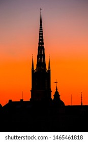 STOCKHOLM, SWEDEN - July 2019: Stockholm skyline at sunset, beautiful sunset over Stockholm Old town (Gamla  Stan), Spires against the sunset sky, Sweden. Picture with long exposure.