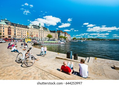 Stockholm, Sweden - July 22, 2013: people walking in old town of Stockholm called Gamla Stan. Sweden, Scandinavia, Europe.
