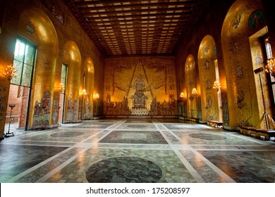 STOCKHOLM, SWEDEN - JULY 26: Interior of Golden Hall of the Stockholm City Hall on July 26, 2012 in Stockholm, Sweden. The Golden Hall is the venue for the dance after the Nobel Prize banquet.