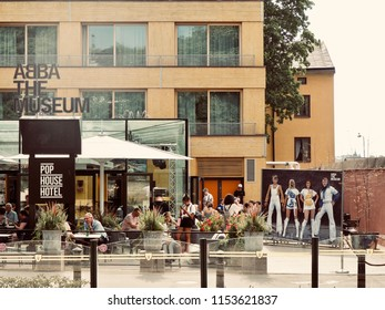STOCKHOLM, SWEDEN - July 27 2018. Exterior of The ABBA Museum on  in Stockholm. The ABBA museum has become of Stockholms major tourist attractions.