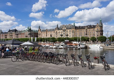 Stockholm, Sweden - July 3, 2016 : Scenic view of Stockholm City during the summer. Travelers are enjoying sunshine and having rest at waterfront cafes and parks in Stockholm.