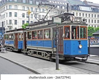 Stockholm, Sweden - July 30, 2014: Old historic tram at Stockholm