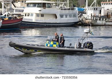 STOCKHOLM SWEDEN July 30, 2017. Police in Stockholm water.