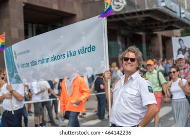 STOCKHOLM, SWEDEN - JULY 30: Swedish coastgurad participating in Stockholm Pride Parade on July 30, 2016 in Stockholm. The Stockholm Pride festival has been held annually since 1998.