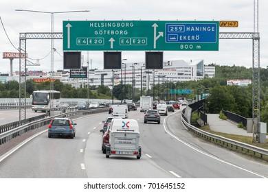 STOCKHOLM, SWEDEN - JULY 4 2017: Car traffic on the highway through Stockholm