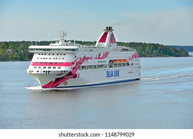 STOCKHOLM, SWEDEN - JULY 9, 2018: Cruise Ship Silja Line Baltic Princess in Baltic sea