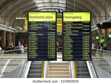 STOCKHOLM, SWEDEN - JULY 9, 2018: Stockholm Central Station, railway station. Timetable (scoreboard)
