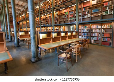 STOCKHOLM, SWEDEN - JUN 14, 2018: National Library of Sweden with historical bookshelves and columns on June 14, 2018. Library established in 1661, consist 18 million books and manuscripts