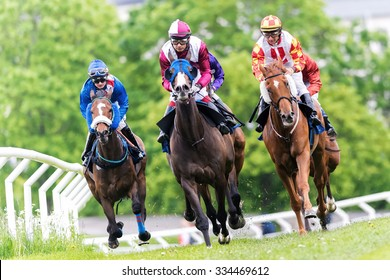 STOCKHOLM, SWEDEN - JUN 6, 2015: Horses with jockeys out of a curve in fast pace at Nationaldagsgaloppen at Gardet.
