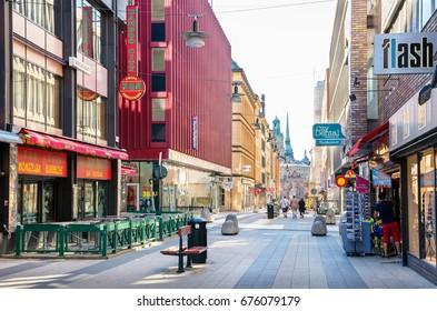 STOCKHOLM, SWEDEN - JUNE 04, 2011: Drottninggatan (Queen Street) is a major pedestrian street in city