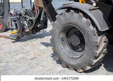 STOCKHOLM, SWEDEN - June 05, 2019: A telescopic handler, also called a telehandler. View of modern agricultural tractor