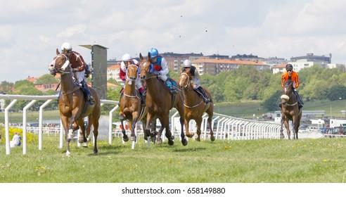 STOCKHOLM, SWEDEN - JUNE 06, 2017: Side view of a tough race between jockeys riding on race horses at Nationaldags Galoppen at Gardet. June 6, 2017 in Stockholm, Sweden