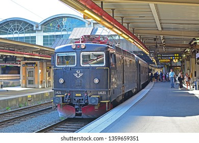 STOCKHOLM, SWEDEN - JUNE 1, 2018 - Long-distance train with SJ Class Rc locomotive, operated by SJ Swedish State Railway, at Stockholm Central Station