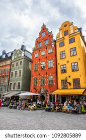STOCKHOLM, SWEDEN - JUNE 11, 2017: Stortorget is Stockholm's most charming square. Ever since the thirteenth century, this square has formed the heart of Gamla Stan, the Old Town of Stockholm.