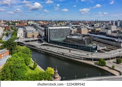 STOCKHOLM, SWEDEN - JUNE 11, 2017: Beautiful aerial view of Stockholm city from the observation deck at the City Hall (Stadshuset). Stockholm, Sweden.