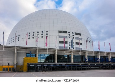 STOCKHOLM, SWEDEN - JUNE 11, 2017: View facade of the Globe. Stockholm Globe Arena (The Globe, 2009) - sport-concert arena located in Stockholm Globe City.
