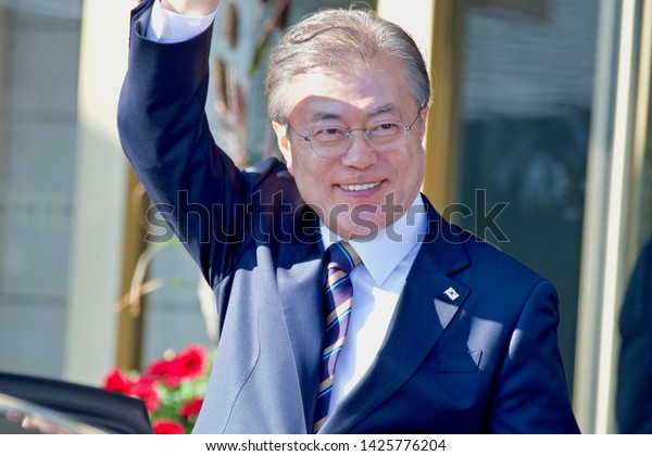 STOCKHOLM, SWEDEN - JUNE 15, 2019: The President of South Korea visiting Stockholm.