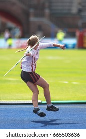 STOCKHOLM, SWEDEN - JUNE 18, 2017:  Female javelin warmup at the IAAF Diamond League in Stockholm.