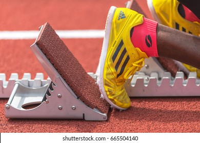STOCKHOLM, SWEDEN - JUNE 18, 2017:  Staring blocks at the IAAF Diamond League in Stockholm.
