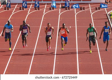 STOCKHOLM, SWEDEN - JUNE 18, 2017:  Mens 100 meters at the IAAF Diamond leauge Bauhaus Galan at Stockholm stadion.