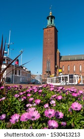 Stockholm, Sweden - June 23, 2019: View of the tower of the Stockholm City Hall from the embankment. Boats and daisies in the foreground.