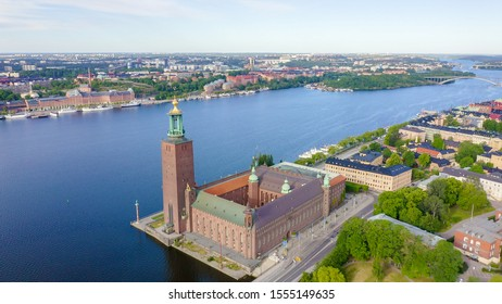 Stockholm, Sweden - June 23, 2019: Stockholm City Hall. Stockholms stadshus. Built in 1923, red brick town hall, From Drone
