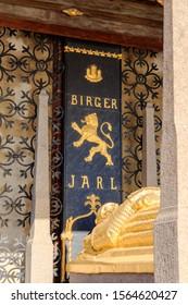 Stockholm, Sweden - June 23, 2019: Gilded sarcophagus under a tent-covered - the tomb of Jarl Birger. 1923