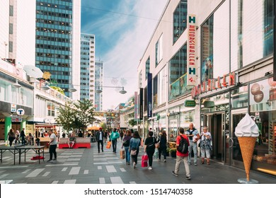 Stockholm, Sweden  - June 28, 2019: Tourists People Walking In Famous Drottninggata Street. Drottninggatan (Queen Street) In Stockholm, Sweden, Is A Major Pedestrian Street With Many Shops.