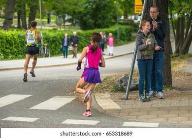 STOCKHOLM, SWEDEN - JUNE 3, 2017: Yoshiko Sakamoto (JPN) at the Stockholm Marathon. About +13k started