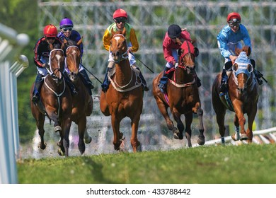STOCKHOLM, SWEDEN - JUNE 6, 2016: Group of a jockeys and race horses at the Nationaldags Galoppen at Gardet in fast pace.
