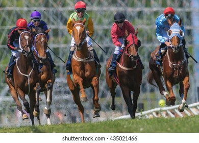 STOCKHOLM, SWEDEN - JUNE 6, 2016: Jockeys and horses side by side at the Nationaldags Galoppen at Gardet.