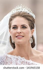 STOCKHOLM, Sweden - JUNE 8: The face of Princess Madeleine on the way to Riddarholmen after the wedding with Chris O´Neill in Slottskyrkan. June 8, 2013, Stockholm, Sweden