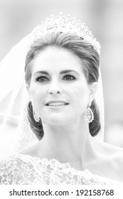STOCKHOLM, Sweden - JUNE 8: The face of Princess Madeleine on the way to Riddarholmen after the wedding with Chris ONeill in Slottskyrkan, black and white. June 8, 2013, Stockholm, Sweden