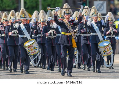 STOCKHOLM, Sweden - JUNE 8: The Royal Wedding between Princess Madeleine and Chris O´Neill and the parade with the Army Music Corps that was starting the procession. June 8, 2013, Stockholm, Sweden