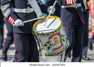 STOCKHOLM, Sweden - JUNE 8: The Royal Wedding between Princess Madeleine and Chris O´Neill and the parade with the the Army Music Corps featuring a drummer. June 8, 2013, Stockholm, Sweden