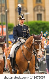 STOCKHOLM, Sweden - JUNE 8: The Royal Wedding between Princess Madeleine and Chris O´Neill and the parade with the guards before the wedding carriage. June 8, 2013, Stockholm, Sweden
