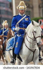 STOCKHOLM, Sweden - JUNE 8: The Royal Wedding between Princess Madeleine and Chris O´Neill and the royal guards before the carriage. June 8, 2013, Stockholm, Sweden