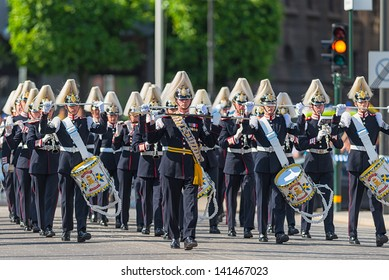 STOCKHOLM, Sweden - JUNE 8: The wedding between Princess Madeleine and Chris O´Neill and the parade with the the Army Music Corps marching and playing. June 8, 2013, Stockholm, Sweden