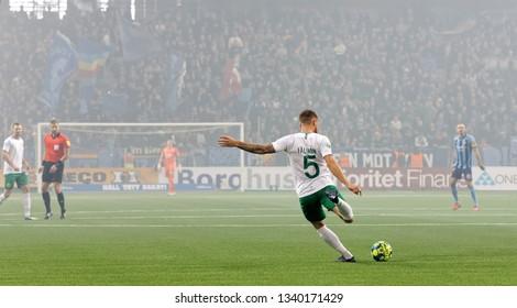 STOCKHOLM, SWEDEN - MAR 10, 2019: David Fallman (HIF) shooting at the Swedish soccer cup quarter finals between Djurgarden vs Hammarby. March 10 2019,Stockholm,Sweden