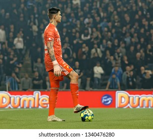 STOCKHOLM, SWEDEN - MAR 10, 2019: Keeper Per Kristian Bratveit at the Swedish soccer cup quarter finals between Djurgarden vs Hammarby. March 10 2019,Stockholm,Sweden