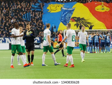 STOCKHOLM, SWEDEN - MAR 10, 2019: The Hammarby soccer team at the derby at the Swedish soccer cup quarter finals between Djurgarden vs Hammarby. March 10 2019,Stockholm,Sweden