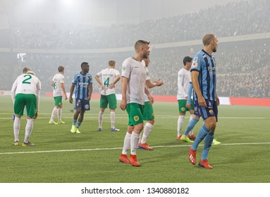 STOCKHOLM, SWEDEN - MAR 10, 2019: Before a free kick at the Swedish soccer cup quarter finals between Djurgarden vs Hammarby. March 10 2019,Stockholm,Sweden